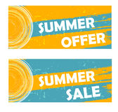 Summer offer and sale with sun sign, drawn banners Royalty Free Stock Photos