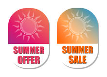 Summer offer and sale with sun signs, flat design labels Stock Image