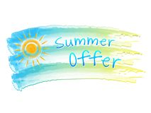 Summer offer and sun on drawing flag Royalty Free Stock Photo