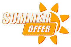 Summer offer with sun sign, flat design label Royalty Free Stock Photo
