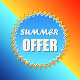 Summer offer in sun sign, retro label, flat design Royalty Free Stock Photo