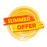Summer offer with sun sign, yellow and orange drawn label Royalty Free Stock Photography