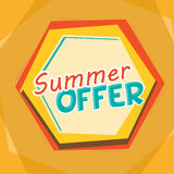 Summer offer, yellow, orange and blue cartoon drawn label Stock Photography