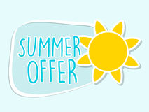Summer offer with yellow sun sign, blue flat design label Royalty Free Stock Photos