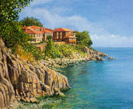 That Summer. An oil painting on canvas of a tranquil summer day in Sozopol, Bulgaria. With crystal clear calm waters in the bay and the houses of the old town Stock Image