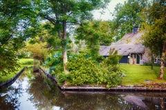 Summer in old dutch village, Giethoorn Stock Photo
