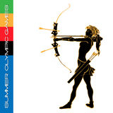 Summer Olympic games archery silhouettes Stock Photography