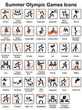 Summer Olympic Games icons. Set of summer Olympic Games icons Royalty Free Stock Image