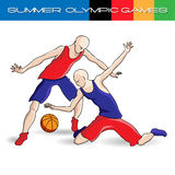 Summer Olympic games volleyball. Summer Olympic games players with the ball in colour in the situation Stock Image