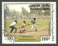 Summer Olympics Baseball. Comoros - stamp printed 1980, Multicolor Air mail Edition, Topic Olympic Games and Baseball, Series 1984 Summer Olympics, Baseball Royalty Free Stock Photography