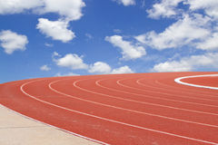 Summer olympics template from running track and sky stock images
