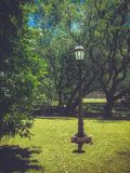 Lonely lamppost in the park stock photo