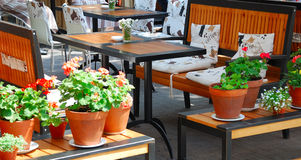 Summer open air cafe Stock Photos