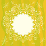 Summer openwork frame with flowers, leaves and dra Royalty Free Stock Image