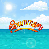 Summer orange red on sea landscape. Summer orange red lettering on sea landscape. Ocean, blue waves, sky, clouds, horizon and sun. Vector illustration of a Stock Photos