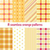 Summer orange seamless patterns. Set of cute textiles in red, orange and white colors. Vector collection Royalty Free Stock Photo