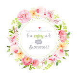 Summer orchid, camellia, rose, ranunculus, carnation and fresh green leaves round vector frame. Royalty Free Stock Photo