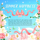 Summer orchid or magnolia flowers vector poster Stock Images
