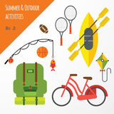 Summer outdoor activities sport equipment flat icons collection with tennis rackets and bicycle abstract isolated Royalty Free Stock Photos