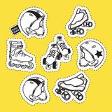 Summer outdoor activities sport equipment patch badges collectio. N with helmets and roller skates on yellow background Royalty Free Stock Images