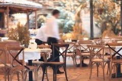 Summer outdoor blurred restaurant Stock Photo