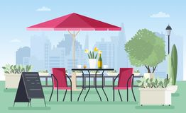 Summer outdoor cafe, coffeehouse or restaurant with table, chairs, umbrella and welcome board standing on city street. Against skyscrapers on background Stock Photo