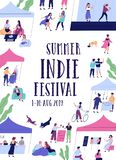 Summer outdoor indie music festival, fair or open air event flyer or poster template with cute tiny people and place for stock illustration