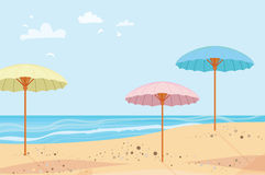 Summer outdoor. Parasols. Sea and sand. Summertime. Beach rest. Vector Stock Photography