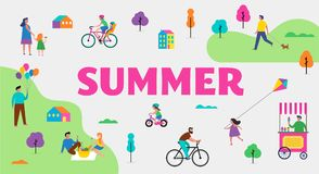 Summer outdoor scene with active family vacation, park activities illustration with kids, couples and families. Summer outdoor scene with active family vacation Royalty Free Stock Image
