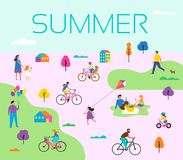 Summer outdoor scene with active family vacation, park activities illustration with kids, couples and families. Summer outdoor scene with active family vacation Stock Image