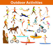 Summer Outdoor sports and activities. Summer Outdoor, beach sports and activities. Woman do yoga, running, cycling, traveling with mountain bike and backpack Royalty Free Stock Photos