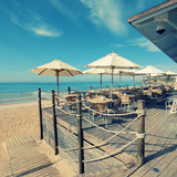 Summer outdoor terrace cafe (Algarve,Portugal) Royalty Free Stock Photos