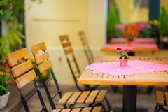 Summer outdoors cafe Stock Images