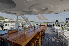 Summer outdor restaurant on the river bank Stock Photography