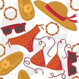 Summer outfit elements on white seamless pattern Stock Photos