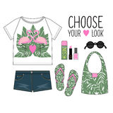 Summer outfit. Fashion Illustration. Woman modern clothing flat lay set. Royalty Free Stock Image