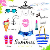 Summer outfit watercolor set Royalty Free Stock Image