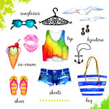 Summer outfit watercolor set Royalty Free Stock Photography