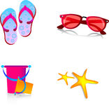 Summer pack 3. Summer pack including , bucket glasses , shoes and a cute star fish Royalty Free Stock Photography