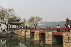The summer Palace. BEIJING, CHINA-MARCH 2014:-The summer palace bathed in Smog, built in the quing dyanasty for the Dragon Lady, March 2014 in Beijing. The Stock Photo