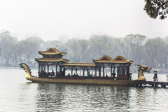 The summer Palace. BEIJING, CHINA-MARCH 2014:-The summer palace bathed in Smog, built in the quing dyanasty for the Dragon Lady, March 2014 in Beijing. The Stock Image