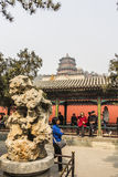The summer Palace. BEIJING, CHINA-MARCH 2014:-The summer palace bathed in Smog, built in the quing dyanasty for the Dragon Lady, March 2014 in Beijing. The Royalty Free Stock Photo