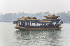 The summer Palace. BEIJING, CHINA-MARCH 2014:-The summer palace bathed in Smog, built in the quing dyanasty for the Dragon Lady, March 2014 in Beijing. The Royalty Free Stock Photography