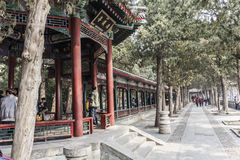 The summer Palace. BEIJING, CHINA-MARCH 2014:-The summer palace bathed in Smog, built in the quing dyanasty for the Dragon Lady, March 2014 in Beijing. The Stock Images