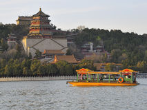 Summer Palace, Beijing, China. Tour boat near Summer Residence of Emperor in Beijing royalty free stock images
