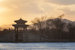 Summer Palace in Beijing practicing bridge Royalty Free Stock Images
