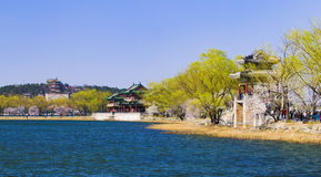 The summer palace in beijing spring peach royalty free stock photos