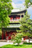 Pavilion in Garden of Peace and Harmony. The sign near the pavilion says `you can hang a lock here for good luck.` Beijing, China royalty free stock images