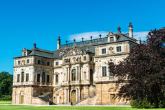 Summer palace and fountain in the Great Garten in Dresden. Baroque palace Sommerpalais in the vast gardens of the public Grosse Garten in Dresden, Germany stock images