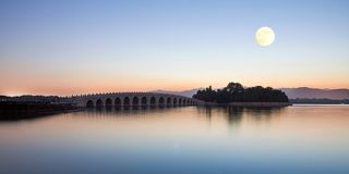 Summer Palace full moon, Beijing, China royalty free stock photography